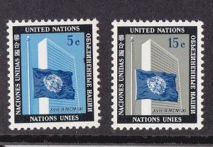 UN - NY # 108-109, UN Building & Flag, Mint NH, 1/2 Cat.
