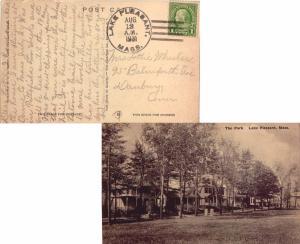 United States Massachusetts Lake Pleasant 1931 4a-bar  PPC (The Park  Lake Pl...