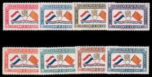 NETHERLANDS ANTILLES 1941 AIR POST SEMI-POSTAL SET MNH #CB1-CB8 slight natura...