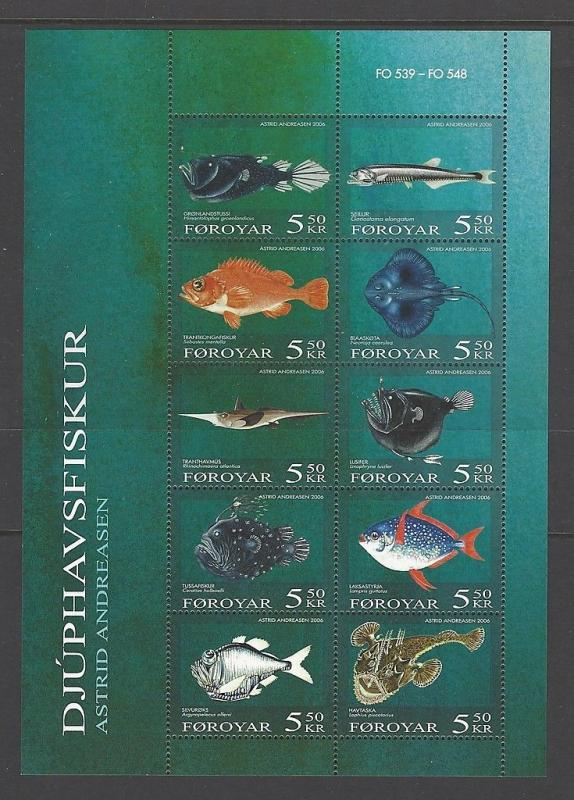 Faroe Islands 2006 Fish Sheet VF MNH (470)