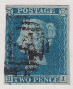 GREAT BRITAIN 4  USED - 1841 2p BLUE - LIGHT CREASE VERY FINE!
