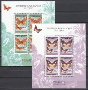 Congo, Dem. 2006 issue. Butterflies on 2 sheets of 4.