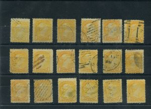 Various cancels one cent Small Queen lot x 18 stamps 1c Canada used