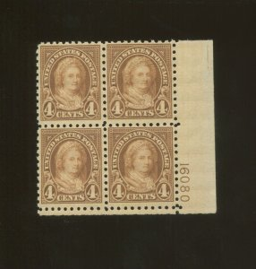 United States Postage Stamp #585 MNH F/VF Plate No. 16080 Block of 4