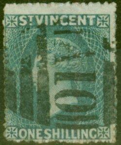St Vincent 1866 1s Slate-Grey SG9 Fine Used (2)