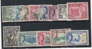 FIJI (MM124) # 147-160 VF-USED VARd,sh  1954-56 QEII /TYPES OF 1938-50 CV $18