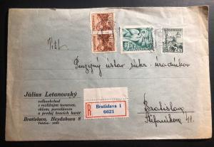 1942 Bratislava Slovakia Commercial Registered Cover Domestic Used