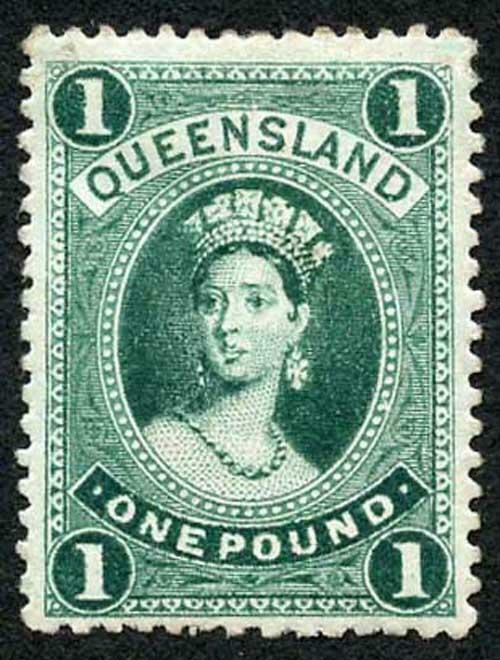 Queensland SG161 One Pound Deep Green M/Mint (thin) cat 325 pounds
