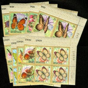 EDW1949SELL : BURUNDI 1968 Scott #C66-74 Butterflies. Blks of 4 VF MNH Cat $196.