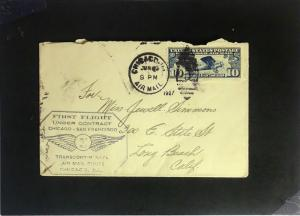 United States 1927 First Flight Cover / Chicago - San Fran - Z2334