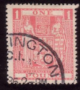 NEW ZEALAND £1 Arms SG158 fine used with postal cds........................36868