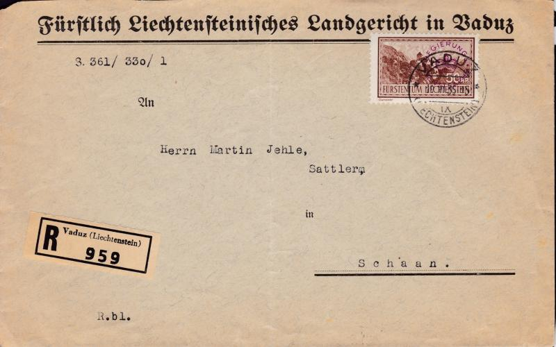 Liechtenstein Official..1935 50rp Registered Domestic use Large Cover