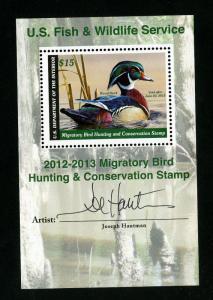 US Stamps # R796 XF Souvenir Sheet w/ Signature OG NH Scott Value $60.00