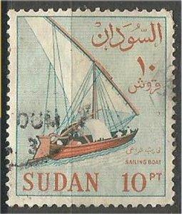 SUDAN, 1962, used 10p, Sailboat Scott 156 ,    variety world stamps