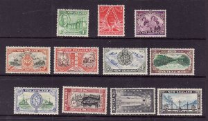 New Zealand-Sc#247-57-unused  NH KGVI Definitive set-the 1d stamp has a spot on