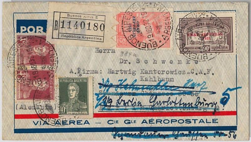 ARGENTINA - POSTAL HISTORY - GRAFF ZEPPELING stamps on FORWARDED cover GERMANY