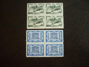 Stamps - Cuba - Scott#C193-C194 - Mint Hinged Set of 2 Stamps in Blocks of 4