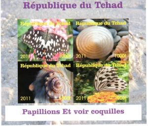 Chad 2011 Butterflies/Shells Shlt (4) Imperforated MNH VF