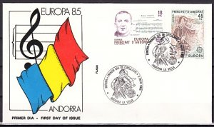 Andorra, Sp. Scott cat. 167-168. Europa-Music Year issue. First day cover. ^