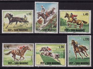 San Marino MNH 627-32 Horses 1966