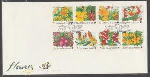 Singapore 1998 Flowers of Singapore (Blocks of 4V) FDC SG#949-956