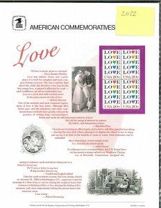 USPS COMMEMORATIVE PANEL #208 LOVE #2072