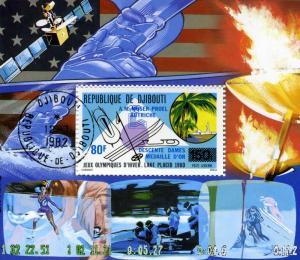 OLYMPICS Lake Placid 1980 Blue Ovpt. SPACE SATELLITE s/s Perforated Fine Used