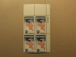 USPS Scott 1249 5c Register Vote 1964 Mint NH Plate Block...