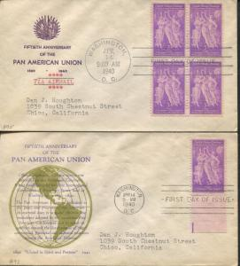 Lot of 2 First Day Covers 1940 Washington D.C. Pan American Union Stamps #895