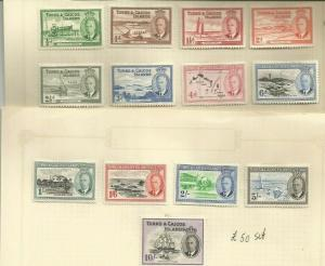 TURKS AND CAICOS 1950 SCOTT 105-17 MH SCV $88