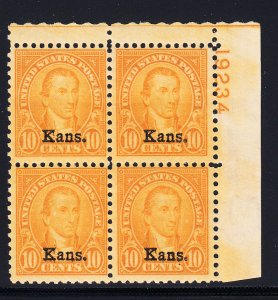 #668  Fine OG Plate Block. 3 stamps NH.
