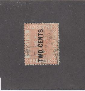 STRAITS SETTLEMENTS (KSG494) # 59 VF-USED 2 on 32c VICTORIA /PALE RED  CAT $900