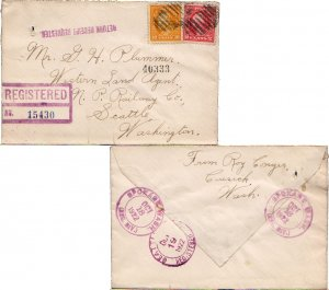 United States Washington Spokane, (Reg. Div.) 1922 violet double ring  2c and...