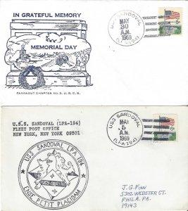 US Naval Cover USS Sandoval  LPA 194  1969 Memorial Day