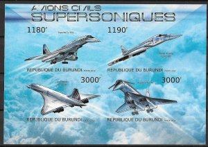 Burundi MNH S/S Supersonic Jets 2012 4 Stamps