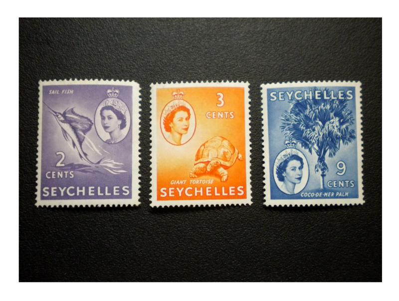 BRITISH SEYCHELLES YEAR 1954 - 56. SCOTT # 173 - 175. UNUSED