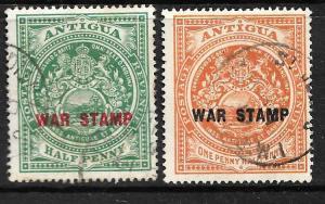 ANTIGUA 1918 WAR STAMP SET 2 FU SG53/54