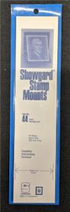Stamp Mounts Supplies Showgard #44 New 15 strips 44mm by 215mm Black background