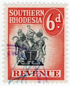 (I.B) Southern Rhodesia Revenue : Duty Stamp 6d