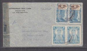 BOLIVIA, 1942 Airmail Censored cover, La Paz to USA,3b.(3), 5b.