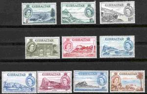 Gibraltar # 132-41  Elizabeth II Set to 1/- 1953  (10)  Unused VLH