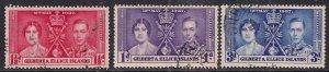 Gilbert & Ellice Islands 1937 KGV1 Set Coronation used SG 40 - 42 ( E1280 )