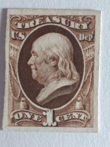 SCOTT # O72P CARD PROOF 1 CENT TREASURY NOTE GREAT COLOR AND GREAT CENTERING !!