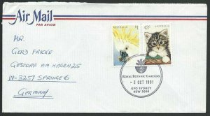AUSTRALIA 1991 cover to Germany - nice franking - Sydney Pictorial pmk.....47318