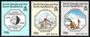 South Georgia 124-126, MNH. Intl. Geophysical Year, 30th anniv.Glaciologist,1987