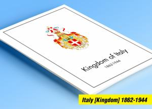 COLOR PRINTED ITALY [KINGDOM] 1862-1944 STAMP ALBUM PAGES (32 illustrated pages)