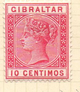 Gibraltar Sc 30 1889 10 centimos rose Victoria stamp mint