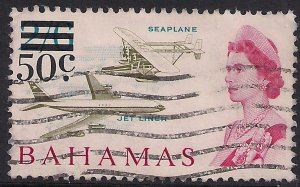 Bahamas 1966 QE2 50ct Ovpt on 2/-6d Sea Plane used SG 284 ( F89 )