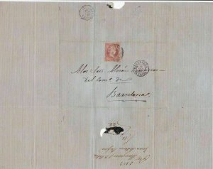SPAIN 1859 CLASSIC  STAMP CANCELLED ON COVER, LETTER  R3972