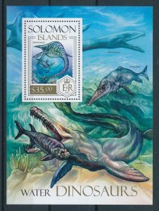 [107099] Solomon Isl. 2013 Prehistoric animals dinosaurs Marine life Sheet MNH